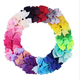 Chinese  40 Colorful Kids Girls Big Solid Ribbon Hair Bow Clips With Large Hairpins Boutique Hairclips Hair Accessories manufacturers