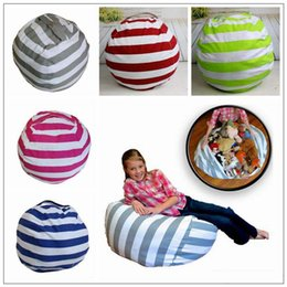 Wholesale 5 Colors inch Storage Bean Bags Beanbag Chair Kids Bedroom Stuffed Animal Organizer Plush Toys Buggy Bags Baby Play Mat