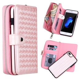 Wholesale Fashion Zipper Wallet Case for iPhone plus Multi Use Weave PU Detachable Back Cover for iphone XS Max XR X