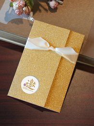 Wholesale Glitter Gold Silver Invitation Card Gold Them Wedding Party Wedding Inivitatio Card Business Birthday Anniversary Invitations