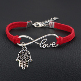 hand bracelet men silver NZ - Best Selling Red Leather Suede Wrap Bracelets & Bangles Fashion Silver Infinity Love Hamsa Fatima Hand Palm Jewelry For Women Men Charm Gift