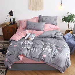 gray jacquard bedding Canada - BEST.WENSD jacquard bedclothes 3d Rose Wedding flat bed linen 100% microfibre bedding set duvet cover housse de couette