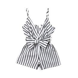 $enCountryForm.capitalKeyWord UK - Summer Newborn Kid Baby Girl Striped Strap Romper Sunsuit Bow Outfit Clothes