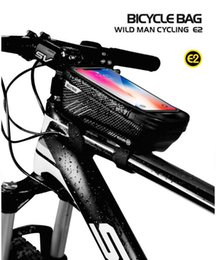 bicycles free shipping NZ - WILD MAN hard shell bicycle bag mountain bike front beam bag upper tube waterproof mobile phone saddle bag free shipping