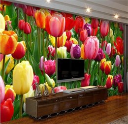 China custom size 3d photo wallpaper living room 3d mural Tulips Flowers clusters 3D picture sofa TV backdrop wallpaper non-woven wall sticker cheap tulip flowers pictures suppliers