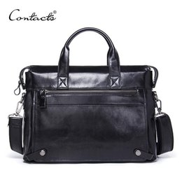 crossbody laptop bag NZ - Quality Genuine Leather Mens Bag Male Casual Laptop Briefcases Tote Shoulder Crossbody Bags Messenger Mens Business Office Bag