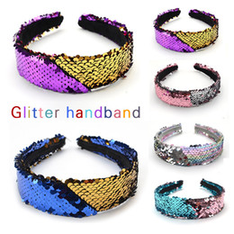 hoop stick NZ - New Double-sided Flipped Sequined Baby Girl Headbands Colorful Hair Hoop Fashion Sequins Hair Sticks Mermaid Designer Headband