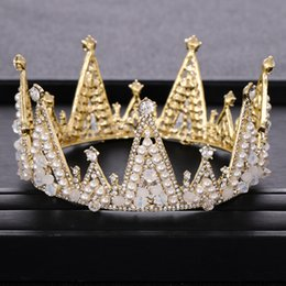 gold crowns for queens Australia - Vintage Round Gold Crown for Bridal tiara Headpiece Handmade Crystal pearl Beading Queen Wedding Crown Hair Jewelry Accessories
