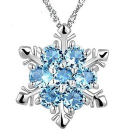 Christmas Pendant Rhinestone Australia - Women Fashion Jewelry Sterling Silver Blue Rhinestone Necklace Snowflake Pendant With Blue Pendant Christmas Gift Free Shipping 2019032408