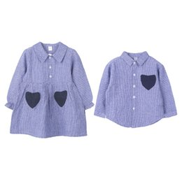boys ruffle top UK - Girls stripe princess dress boys love heart embroidery casual tops kids lapel falbala sleeve pleated dress 2019 spring new boy clothes F4378