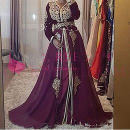 custom belts Australia - Formal Saudi Arabic Burgundy Evening Dresses Long Sleeve Gold Appliques Belt Muslim Formal Prom Dress Occasion Party Gowns Custom Made