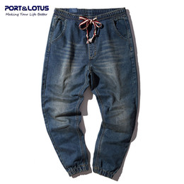 Wholesale loose jeans drawstring resale online - PORT Fashion Jeans Men Cotton Harem Denim Loose Long Pants Drawstring Mens Haren Jeans Men s Brand Clothing YP012