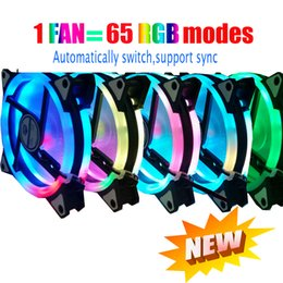 aluminum ring case 2019 - NEW 65 modes RGB Case circle Cooling automatically switch support sync 120mm 12cm With RGB LED Ring For pc Cooler cheap