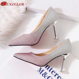 High Heeled Winter Shoes Australia - Shoes Benzelor New Autumn Winter Bling Elegant Women Pumps Thin Ultra High Heels White Fashion Female Ladies Party Wedding A8
