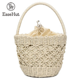 straw tote bucket bag 2019 - EaseHut Hollow Out Round Straw Drawstring Bag for Women Handmade Summer Boho Beach Vacation Handbag Tote Woven Bucket Ra