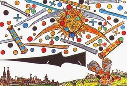 paint over canvas print 2019 - UFO Battle Over Nuremberg, Germany 1561 Grainy Replica Art Silk Print Poster 24x36inch(60x90cm) 087 cheap paint over can