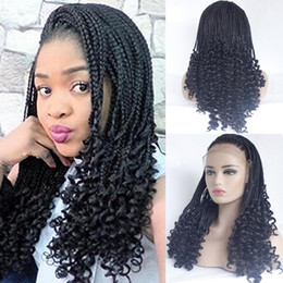 micro braided wigs UK - Natural Color Micro Braiding with Curly Tips Synthetic Lace Front Wigs Free Parting Braids Braided Wigs Heat Resistant Fiber Half Hand Weave