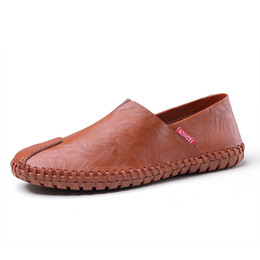 Design Genuine Leather NZ - 46 47 48 Handmade Men's Loafer Shoes Genuine Leather Moccasins Wedding Party Luxury Design Male Shoes Casual Slip-On Mans Footwear