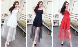 Korean Red Dress Gown Australia - Summer 2019 Korean Sexy Women Wear Letters Sling Backless Evening Party Dresses Gauze Empire Long Skirt QC0184