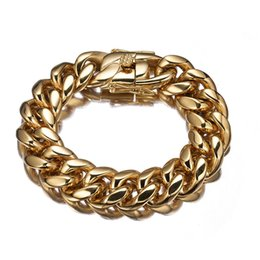 $enCountryForm.capitalKeyWord Australia - Strong Biker Men 18mm Heavy Stainless Steel Thick Gold Color Miami Curb Cuban Link Chain 8-11 Inches Customized Bracelet