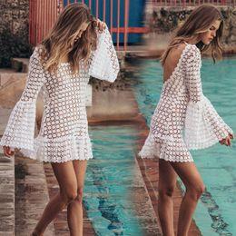 $enCountryForm.capitalKeyWord NZ - White dress lace openwork dress hook trumpet sleeves flower beach dress