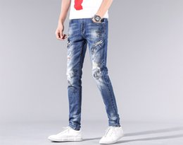 branded jeans wholesale Australia - Designer men luxury DG jeans famous brand new slim fit new leisure embroidery splice washed casual pants street fashion pants popularclassic