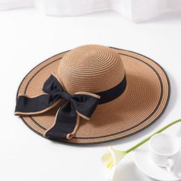 5cf1b89c5f8d3 Ladies Summer Hat Bow Silk Ribbon New Brand Straw Hats For Women Beach Sun  Hats Floppy Sunhat