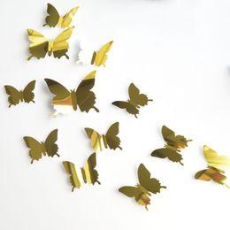 $enCountryForm.capitalKeyWord Australia - 30set 12pcs set 3D Mirror Surface Buttefly Wall Sticker For Bedroom Kitchen Art Mural Wedding Party Refrigerator Decoration Wall Decal
