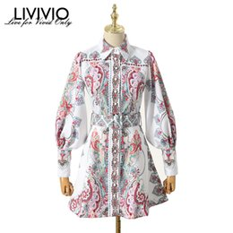 vintage clothes for women NZ - [LIVIVIO] Vintage Floral Print Lantern Long Sleeve Mini Dresses Female Match Belt Waisted 2019 Autumn Clothes for Women Fashion Y200101