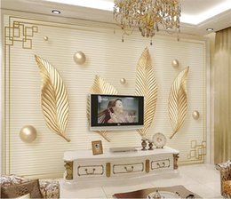 small house kitchens Australia - Nordic minimalist small fresh golden abstract leaves living room TV background decorative painting wall covering home custom murals