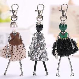 $enCountryForm.capitalKeyWord Canada - YLWHJJ 2017 brand Doll baby Handmade Cute black keychain for Women Car Pendant hot Girl Statement fashion Jewelry Bag key chain
