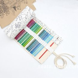 Canvas Pencil Roll Case Australia - Big Pencil Case School Canvas Roll Pouch pencil box Constellation Case Sketch Brush pen Bag Tools