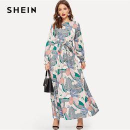 0f68407e18f SHEIN Keyhole Back Belted Flower Print Round Neck Multicolor A Line Dress  Abaya Office Lady Women Long Sleeve Dresses