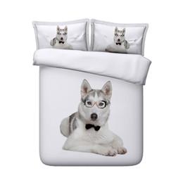 Print Duvet NZ - Soft Comforter Cover Huskies Print Duvet Covers Set 3 Piece Including 1 Duvet Cover And 2 Pillow Shams Bedroom Decor Kids Girls Boys Bedding
