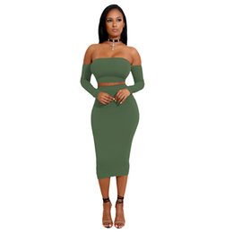 e94cc76d500 Sexy Women Two Pieces Set Off Shoulder Lace Up Back Long Sleeve Backless  Crop Top Bodycon Pencil Skirt Set Women Clothes Sets Y19051402