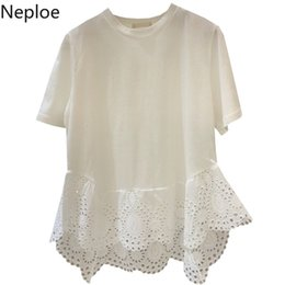Korean Tshirt Women Australia - Neploe 2019 Summer New Korean Tshirt Lace Hollow-out Ruffles Patchwork T Shirts Women Short Sleeve White Black Top Tees 52930