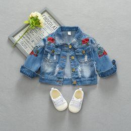 Denim Style For Babies Australia - Baby Denim Coats Vintage Jeans Jackets Kids Toddler Denim Jackets Infant Jean Rose Flower Embroidery Children sweaters For 0~4Y