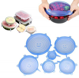 Kitchen Pots Pans Sets Australia - 6PCS SET Silicone Stretch Lids Suction Pot Reusable Fresh Keeping Wrap Seal Lid Pan Cover Kitchen Tools Accessories