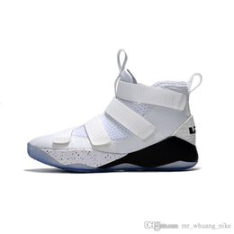 sale retailer 34923 cd2a7 Mens lebron soldier 11 basketball shoes White Black youth kids soldiers xi  outdoor sneakers with box
