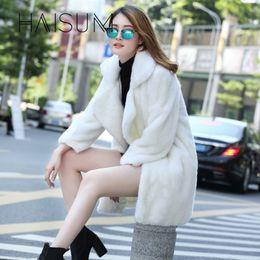 Mink Long Jacket Australia - 2018 Rabbit Coat Vest Faux Coat New Winter Fashionable Temperament Women Artificial Imitation Mink Long Sleeve Jacket Nv033