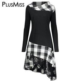 $enCountryForm.capitalKeyWord Australia - Plusmiss Plus Size 5xl Vintage Lace Plaid Panel Tunic Long Top Women Autumn 2017 Long Sleeve Asymmetrical Blouse Shirt Big Size J190512