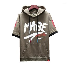 Discount male short sleeve hoodie New Mens Short sleeve Hoodies and Sweatshirts Loose Printing Jackets Male Fashion Hoody Men Camouflage Hoodies Size M -