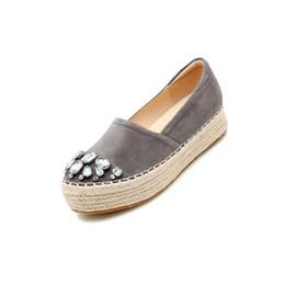 Slip Creepers UK - Gray Handmade Creepers Platform Shoes Watermelon Espadrilles Women Diamond Crystal Fisherman Grey Muffin Thick Sole Flats
