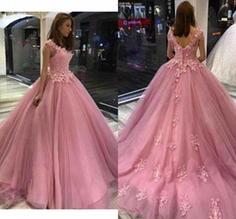 ivory white rose balls Australia - Rose Pink Sweet 16 Dresses Pearls Beading Crystal Applique Lace Quinceanera Dress Ball Gowns Prom Graduation Dress 8th Grade