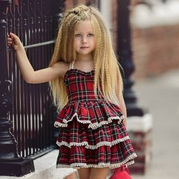 $enCountryForm.capitalKeyWord NZ - 2019 New Fashion Ruffled Pageant Party Princess Dress Sleeveless Red & Blue Plaid Kid Baby Girls Layered Dresses Uniform Children's Clothes