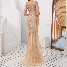 $enCountryForm.capitalKeyWord UK - Advanced Series Deep V-Neck Women's Party Dresses Overall Sequin Beading Rose Gold Evening Gown Trumpet Party Wear Dresses for Ladies Robe