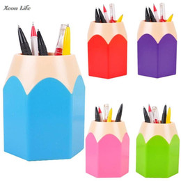 Discount kids stationery gift sets ISHOWTIENDA 7.5*10.5CHot Makeup Brush Vase Pencil Pot Pen Holder Stationery Storage Caja De Lapices Kids School Tool Off