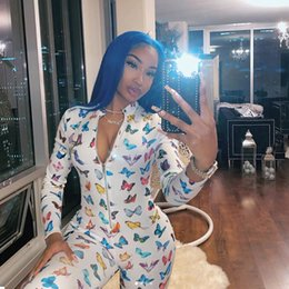 Discount clubwear one piece jumpsuit Fashion Womens Butterfly Print Sexy Long Sleeve Bodycon Jumpsuit Rompers Zipper skinny Clubwear Outfits One Piece Romper