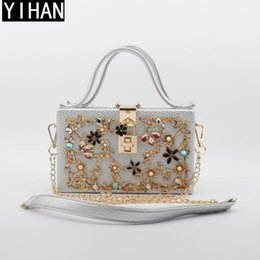 Woman Chains NZ - Factory independent brand female bag new high quality carved box package exquisite metal carved chain bag elegant diamond woman evening bag