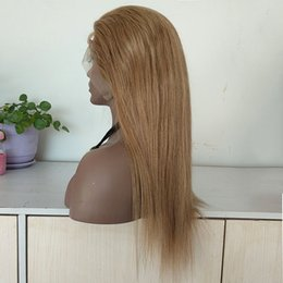 18 Inch Straight Lace Wig Australia - 16 Inch Indian Human Hair Silk Straight 130% Density Full Lace Wigs with Baby Hair , #27 Color Hair Lace Front Wig Custom Make